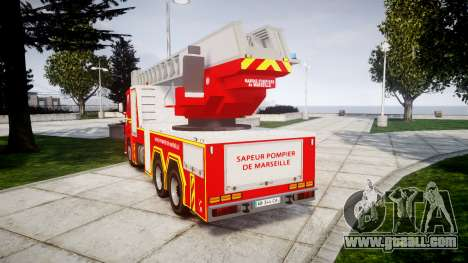 Scania R580 Marseille Fireladder [ELS] for GTA 4 back left view