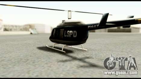 Beta Police Maverick for GTA San Andreas back left view