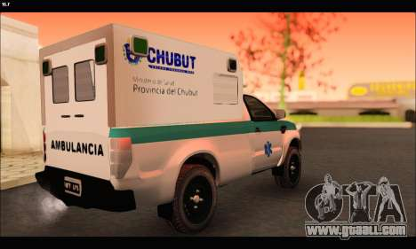 Ford Ranger 2013 Ambulancia Chubut for GTA San Andreas back left view