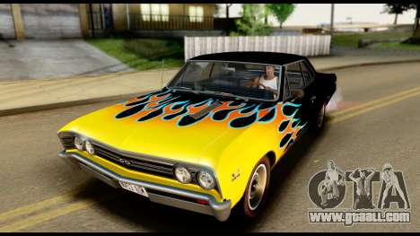 Chevrolet Chevelle SS 396 L78 Hardtop Coupe 1967 for GTA San Andreas upper view