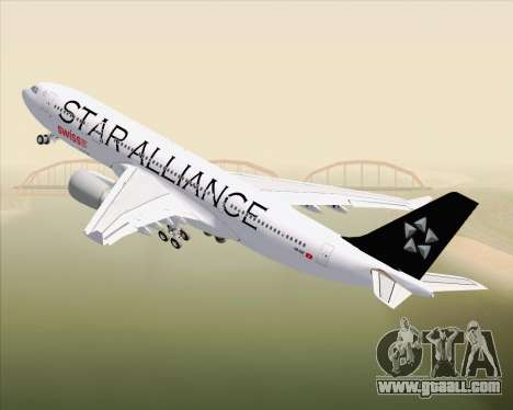 Airbus A330-200 SWISS (Star Alliance Livery) for GTA San Andreas upper view