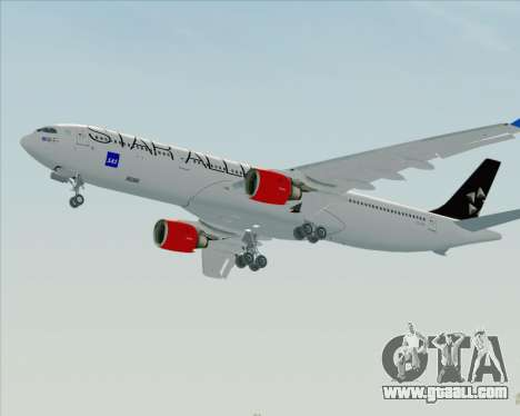 Airbus A330-300 SAS Star Alliance Livery for GTA San Andreas back view