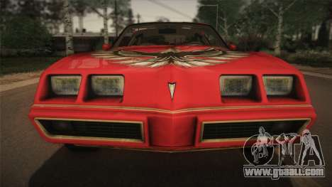 Pontiac Turbo Trans Am 1980 Bandit Edition for GTA San Andreas inner view