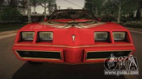 Pontiac Turbo Trans Am 1980 Bandit Edition for GTA San Andreas inner view