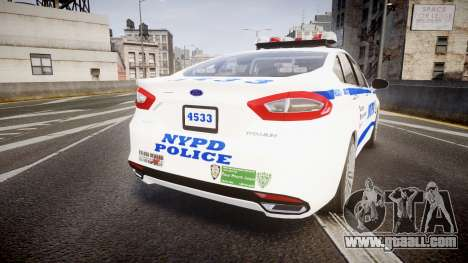 Ford Fusion 2014 NYPD [ELS] for GTA 4 back left view