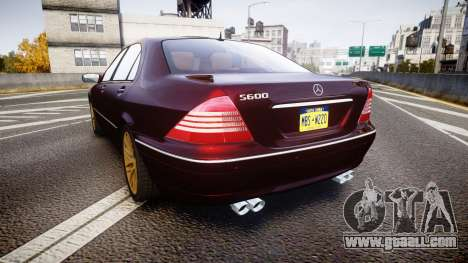 Mercedes-Benz S600 W220 for GTA 4 back left view