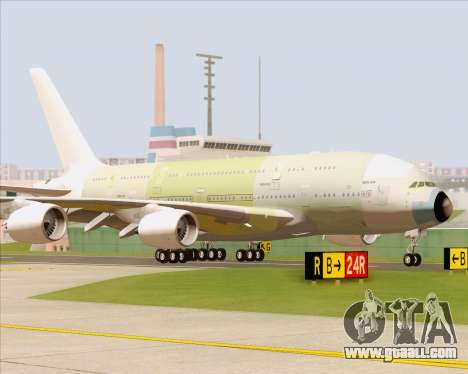 Airbus A380-800 F-WWDD Not Painted for GTA San Andreas left view