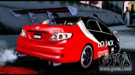 Toyota Corolla 2012 LOJACK Racing for GTA San Andreas left view