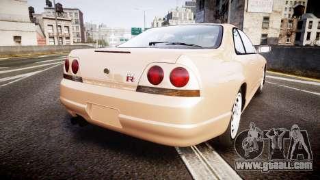 Nissan Skyline R33 GT-R V.spec 1995 for GTA 4 back left view