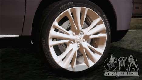 Lexus RX450H 2012 for GTA San Andreas