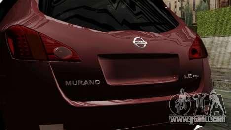 Nissan Murano 2008 for GTA San Andreas back view