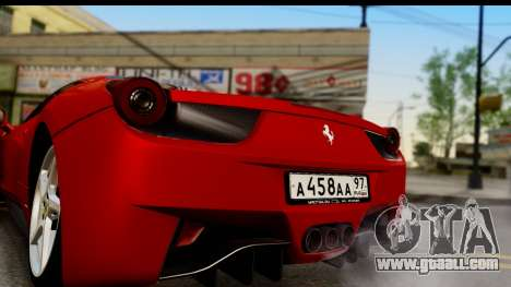 Ferrari 458 Italia for GTA San Andreas right view