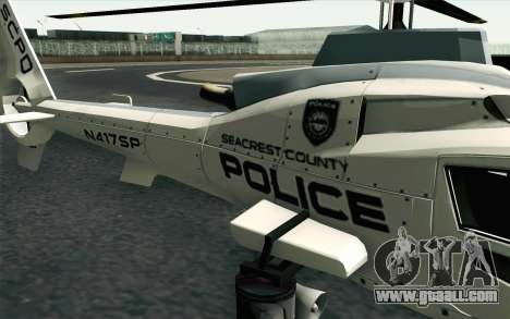 NFS HP 2010 Police Helicopter LVL 1 for GTA San Andreas back view