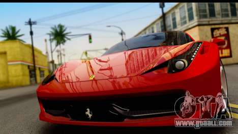Ferrari 458 Italia for GTA San Andreas back left view