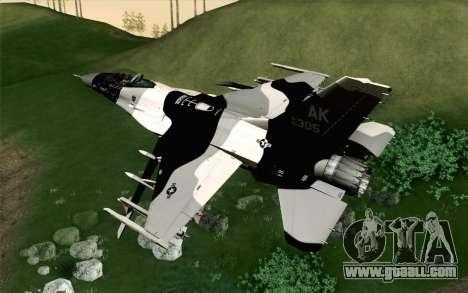 F-16C Fighting Falcon Aggressor Alaska BlackGrey for GTA San Andreas left view