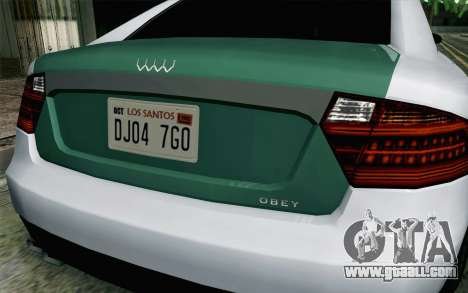 GTA 5 Obey Tailgater v2 IVF for GTA San Andreas back view