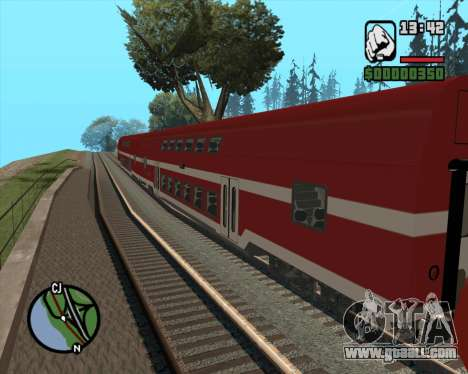 Israeli Train Double Deck Coach for GTA San Andreas left view