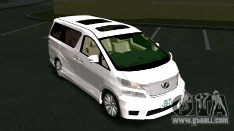 Toyota Vellfire for GTA San Andreas back view