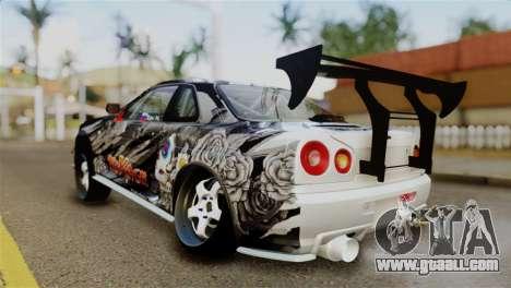 Nissan Skyline GTR34 Tokage for GTA San Andreas back left view