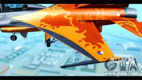 F-16D Fighting Falcon Dutch Demo Team J-015 for GTA San Andreas back view