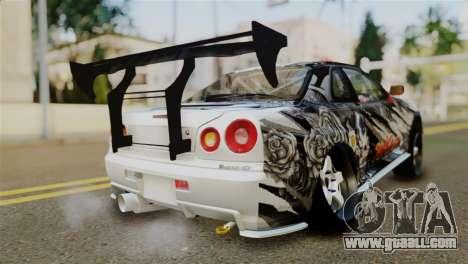 Nissan Skyline GTR34 Tokage for GTA San Andreas left view