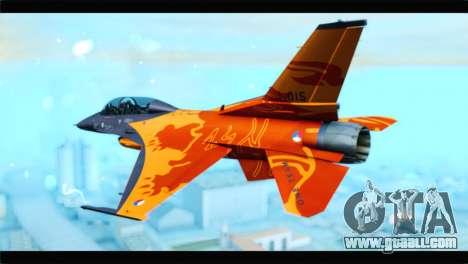 F-16D Fighting Falcon Dutch Demo Team J-015 for GTA San Andreas left view