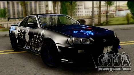 Nissan Skyline GT-R BNR34 Mio Akiyama Itasha for GTA San Andreas