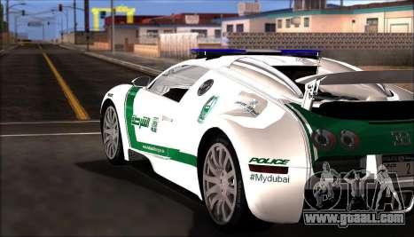 Bugatti Veyron 16.4 Dubai Police 2009 for GTA San Andreas back left view