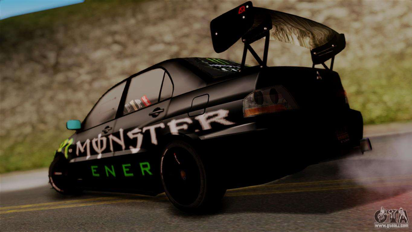 Amazing Mitsubishi Lancer Evo IX Monster Energy For GTA San Andreas Left View Awesome Ideas