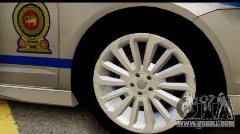 Ford Fusion 2011 Sri Lanka Police for GTA San Andreas back view