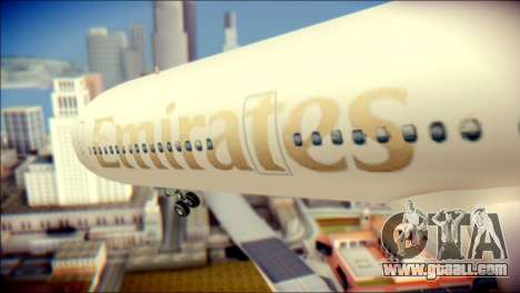 Airbus A340-300 Emirates for GTA San Andreas back view