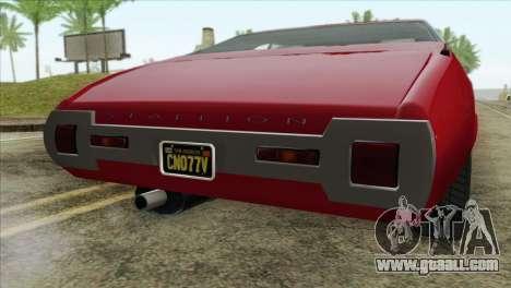 GTA 5 Declasse Stallion for GTA San Andreas back view
