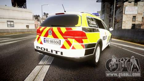 Volkswagen Passat B7 Police 2015 [ELS] marked for GTA 4 back left view