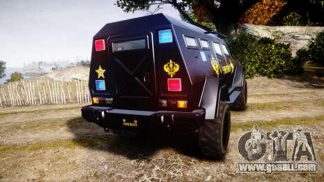 GTA V HVY Insurgent Pick-Up SWAT [ELS] for GTA 4 back left view