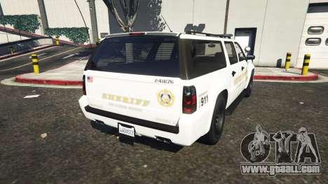 GTA 5 Declasse Sheriff SUV white rear left side view