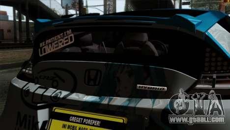 Honda CRZ Mugen Stance Miku Itasha for GTA San Andreas back view