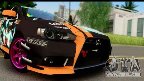 Mitsubishi Lancer Evolution X 2014 Itasha for GTA San Andreas back left view