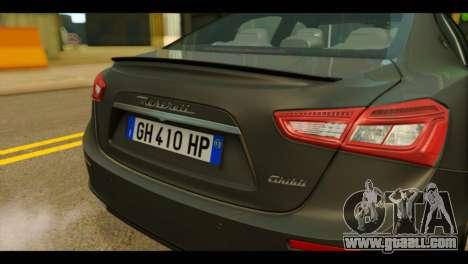 Maserati Ghibli S 2014 v1.0 EU Plate for GTA San Andreas back view