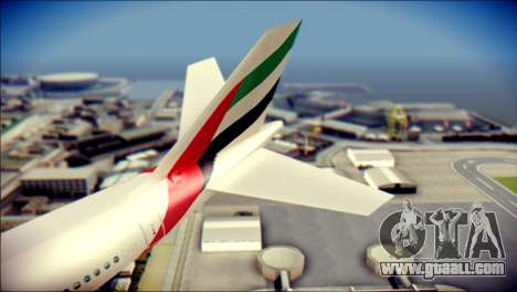 Airbus A340-300 Emirates for GTA San Andreas back left view