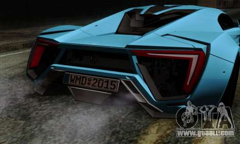Lykan Hypersport 2014 EU Plate Livery Pack 1 for GTA San Andreas back view