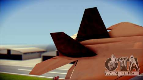 F-22 Raptor G1 Starscream for GTA San Andreas back left view