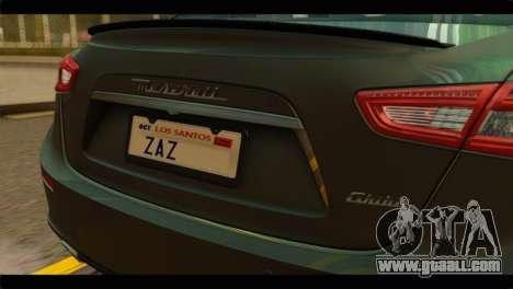 Maserati Ghibli S 2014 v1.0 SA Plate for GTA San Andreas right view