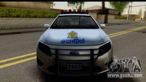 Ford Fusion 2011 Sri Lanka Police for GTA San Andreas back left view