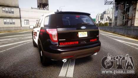 Ford Explorer 2011 Elizabeth Police [ELS] v2 for GTA 4 back left view