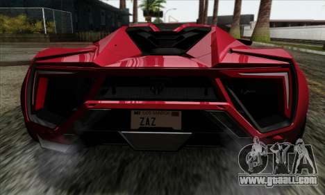 Lykan Hypersport 2014 Livery Pack 1 for GTA San Andreas back view