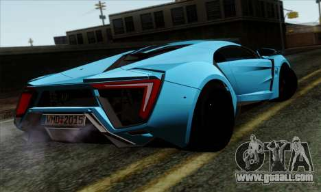 Lykan Hypersport 2014 EU Plate Livery Pack 1 for GTA San Andreas left view