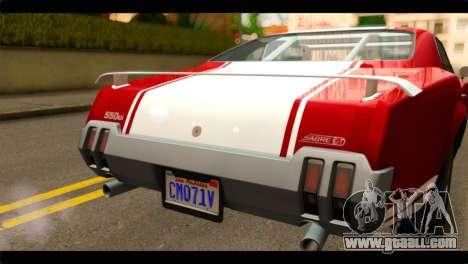 GTA 5 Declasse Sabre GT Turbo for GTA San Andreas back view