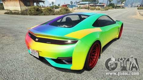 GTA 5 Dinka Jester (Racecar) Rainbow rear left side view