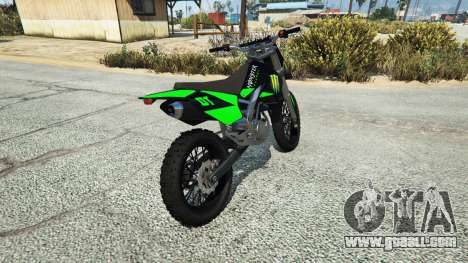 GTA 5 Maibatsu Sanchez Yamaha-KTM-Monster Energy rear left side view