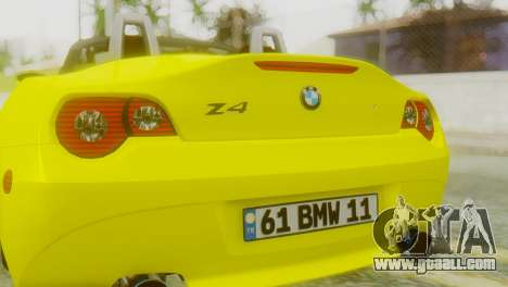 BMW Z4 Construction Ens for GTA San Andreas back view